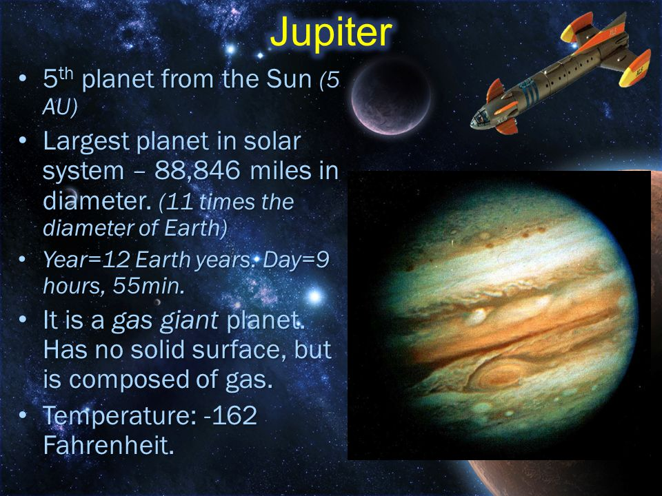 Jupiter 5th planet from the Sun (5 AU)