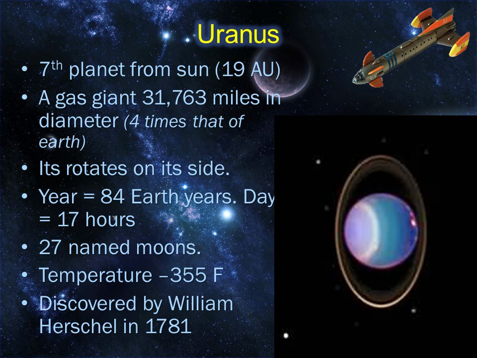 Uranus 7th planet from sun (19 AU)