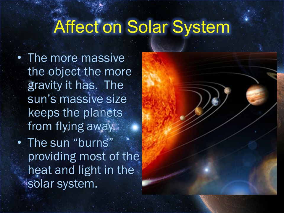 Affect on Solar System The more massive the object the more gravity it has. The sun's massive size keeps the planets from flying away.