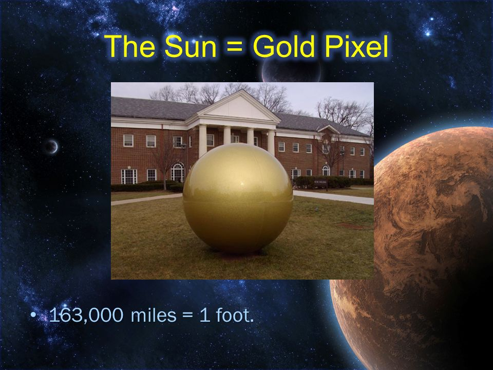 The Sun = Gold Pixel 163,000 miles = 1 foot.