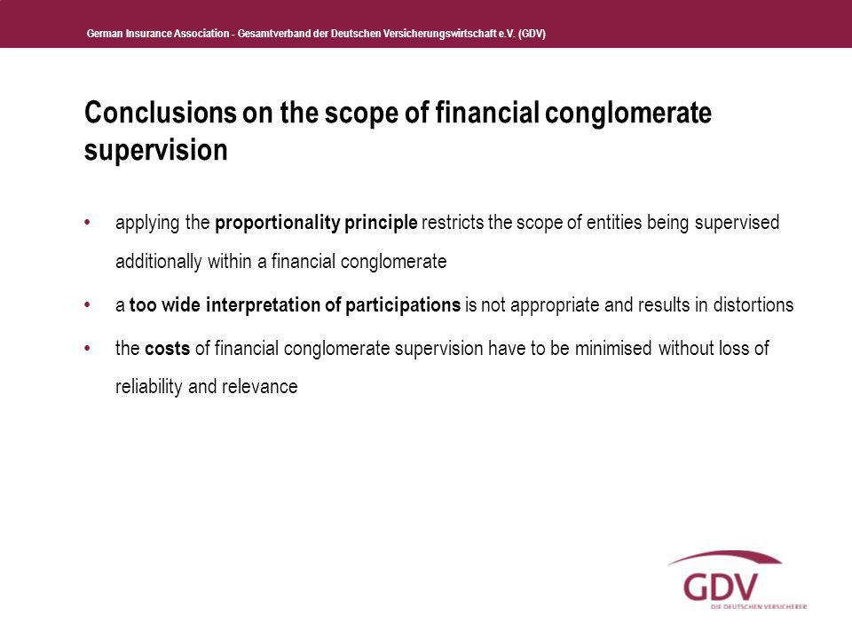 Conclusions on the scope of financial conglomerate supervision