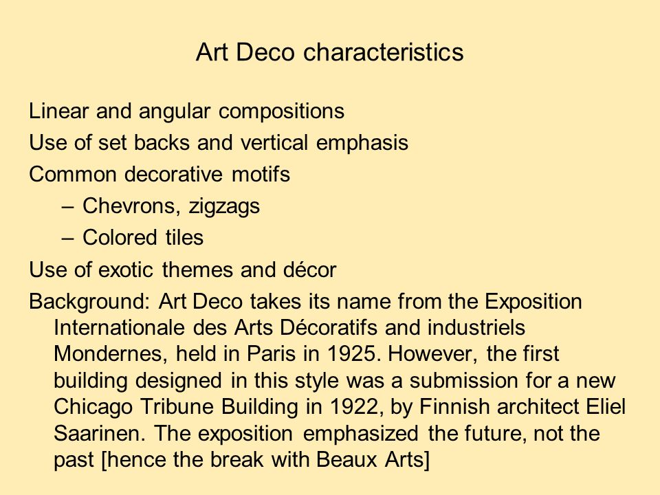 Modernism from europe and the international style ppt for Art deco architecture characteristics