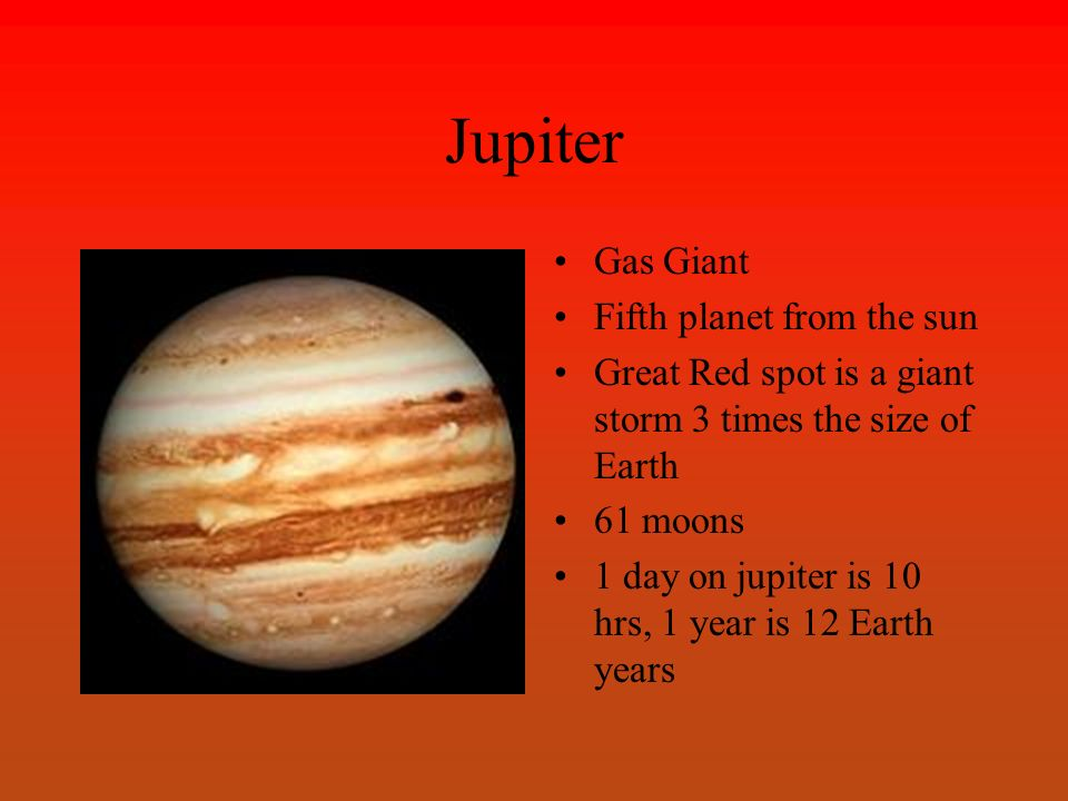 Jupiter Gas Giant Fifth planet from the sun