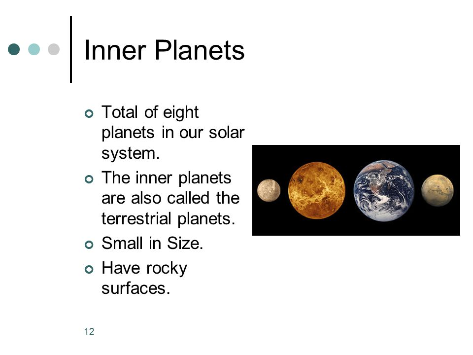Inner Planets Total of eight planets in our solar system.