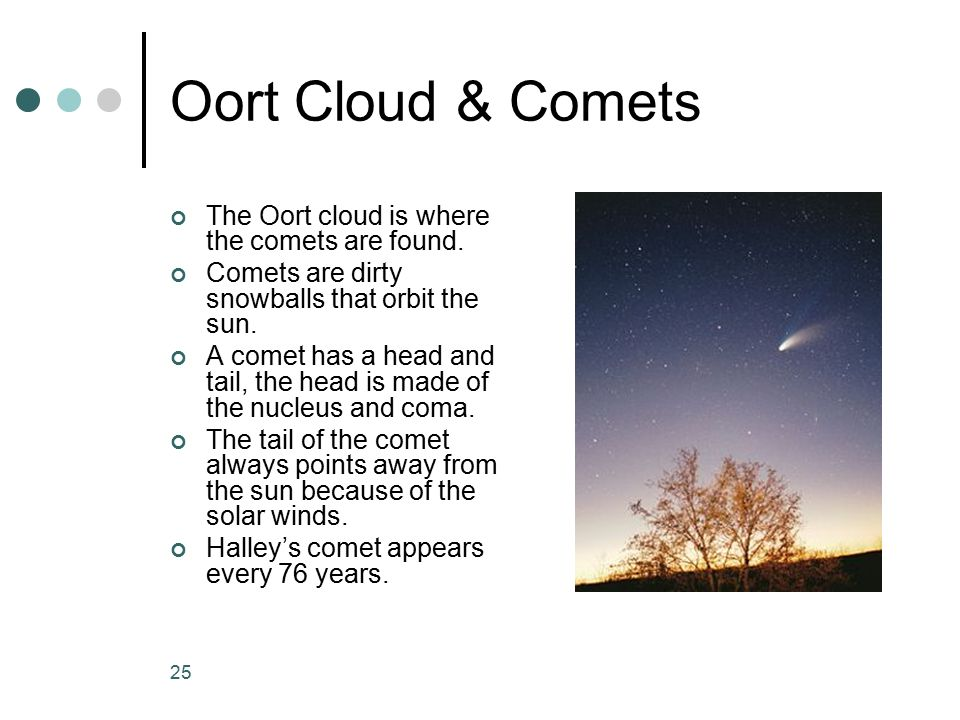 Oort Cloud & Comets The Oort cloud is where the comets are found.