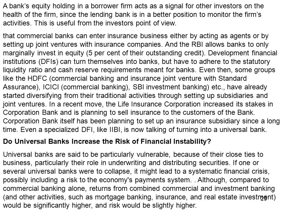 collapse of the universal banking in Us policy makers were so concerned about the rise of foreign universal banks that they the universal banking model is of contagion in a crisis.