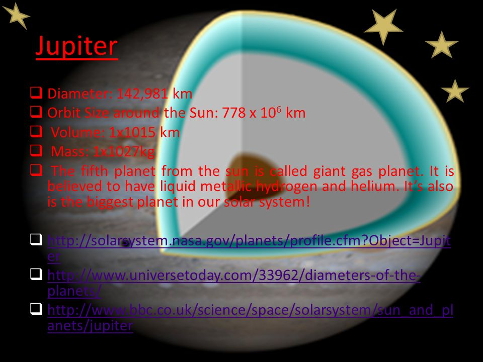 Jupiter Diameter: 142,981 km Orbit Size around the Sun: 778 x 106 km