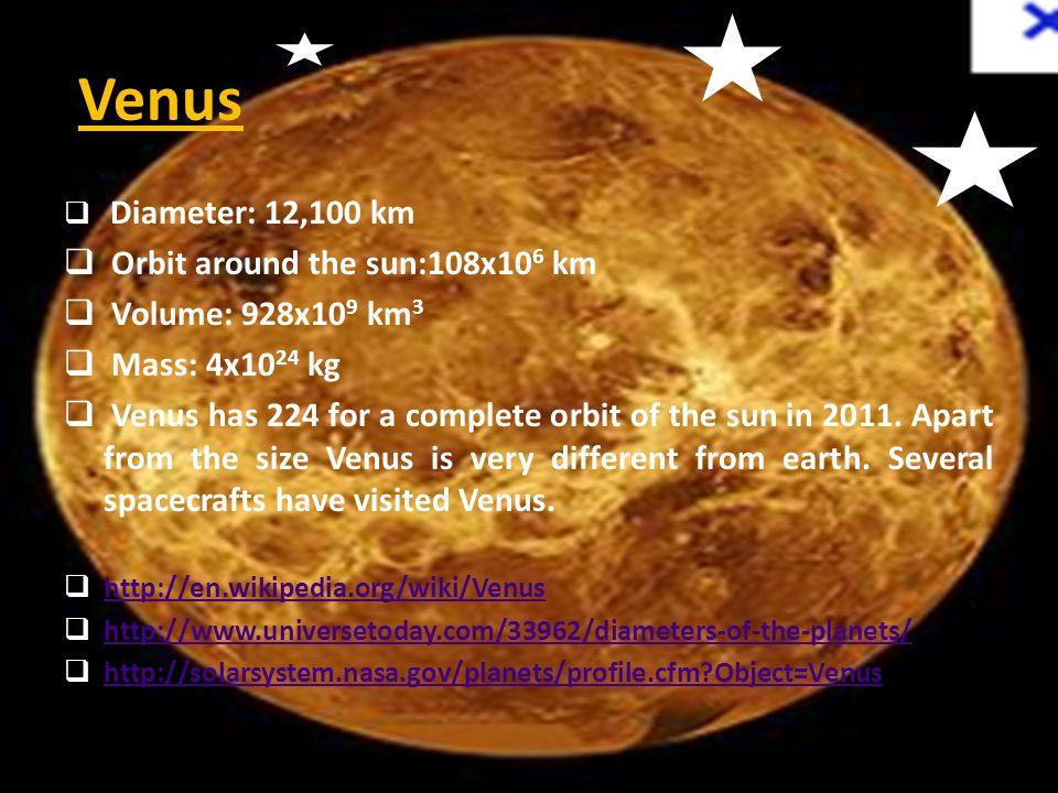 Venus Orbit around the sun:108x106 km Volume: 928x109 km3