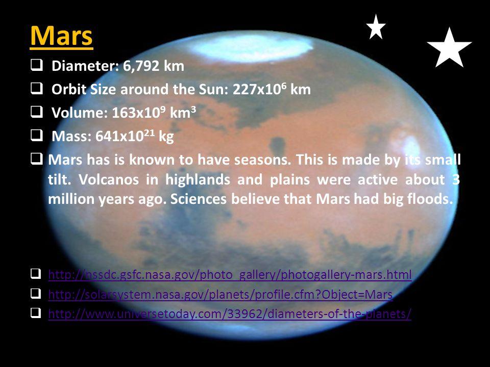 Mars Diameter: 6,792 km Orbit Size around the Sun: 227x106 km