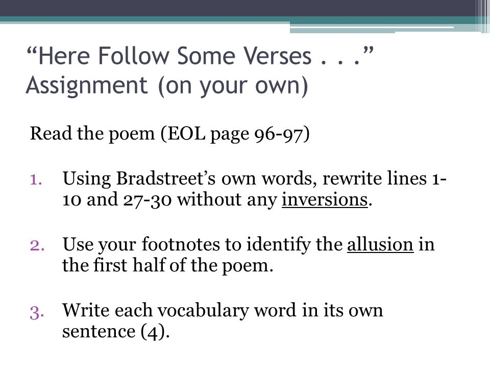 here follow some verses To her father with some verses track info poems of anne bradstreet anne bradstreet 1 a dialogue between old england and new  here follow some verses upon the burning of our house, july 10 .