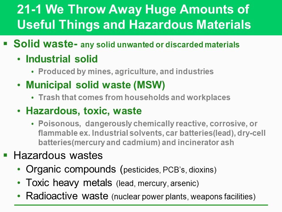 Solid and hazardous waste ppt video online download for Useful things from waste material