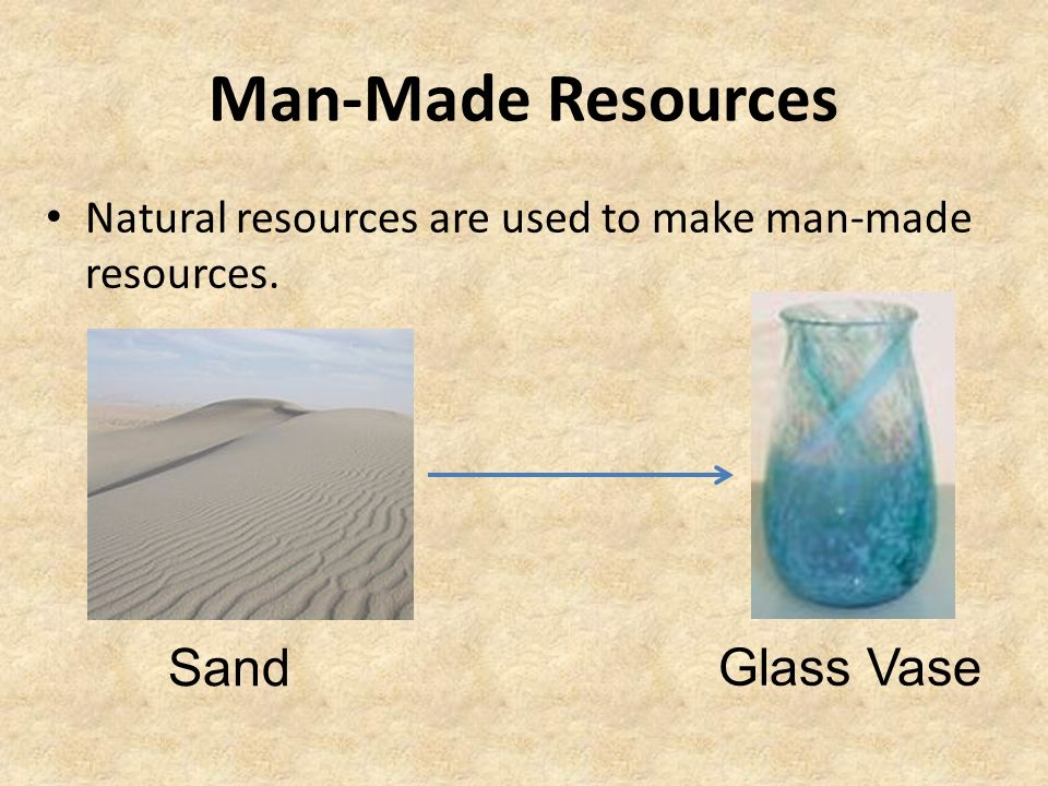 man made resources Made or caused by human beings artificial, synthetic, etc: a man-made fabric, man-made famine.