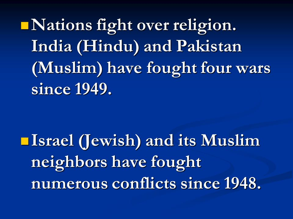 Nations fight over religion