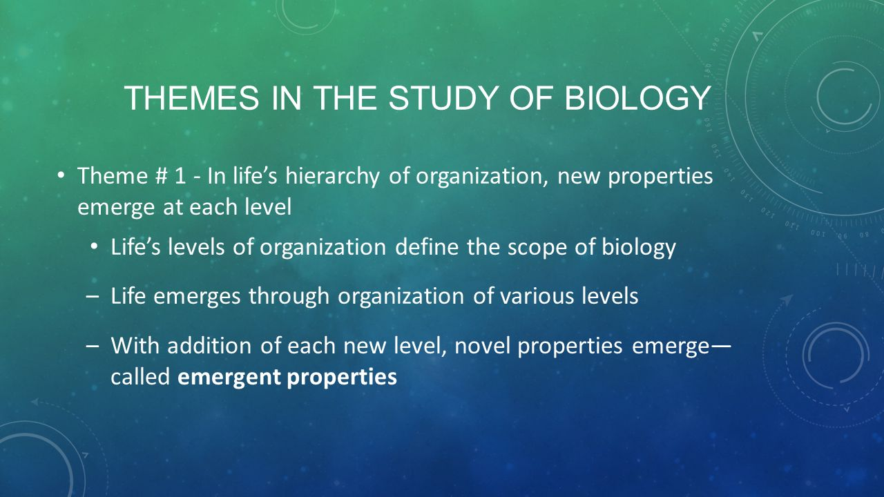 themes of biology Section 12 unifying themes of biology reinforcement key concept unifying themes connect concepts from many fields of biology several major concepts run through all of biology.