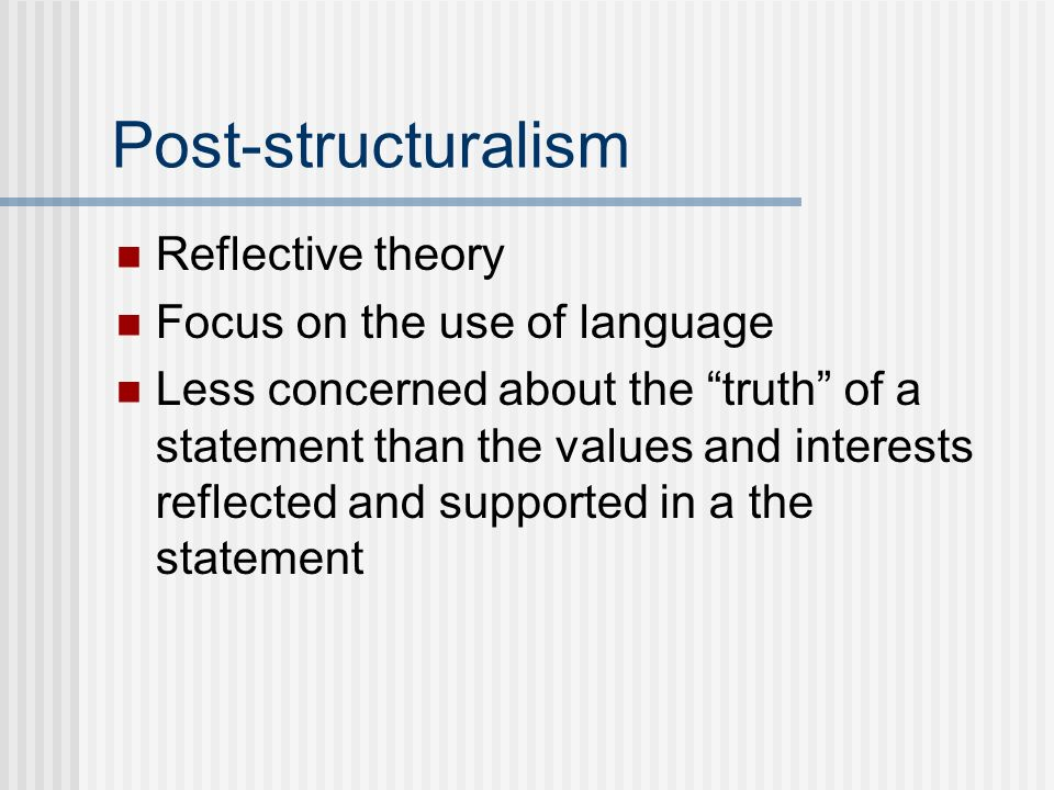 essentialist and post structuralist theories of For bookchin, theorists such as foucault and derrida simulate a kind of  a  timely gift for theorists such as todd may ( the political philosophy of  poststructuralist  for newman, however, power is ineradicable, and any  essentialist notion of.