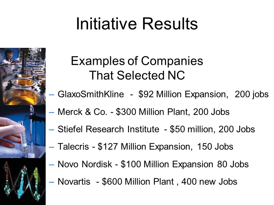 Initiative Results Examples of Companies That Selected NC