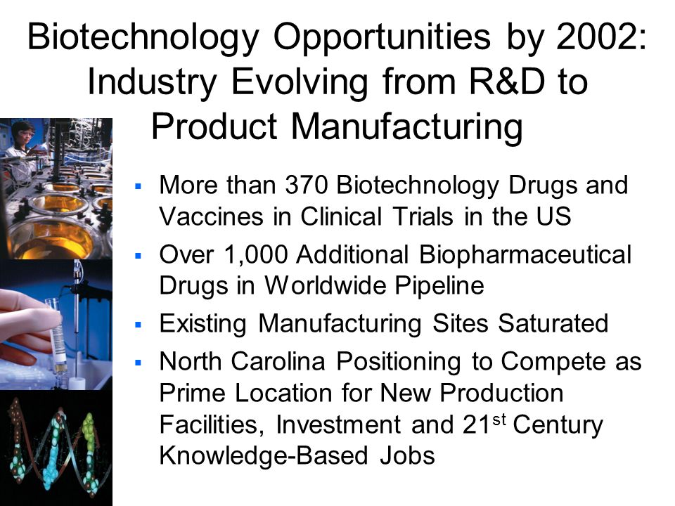 Biotechnology Opportunities by 2002: Industry Evolving from R&D to Product Manufacturing