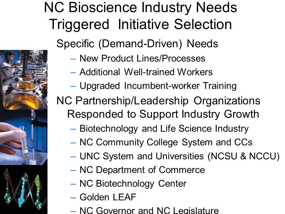 NC Bioscience Industry Needs Triggered Initiative Selection