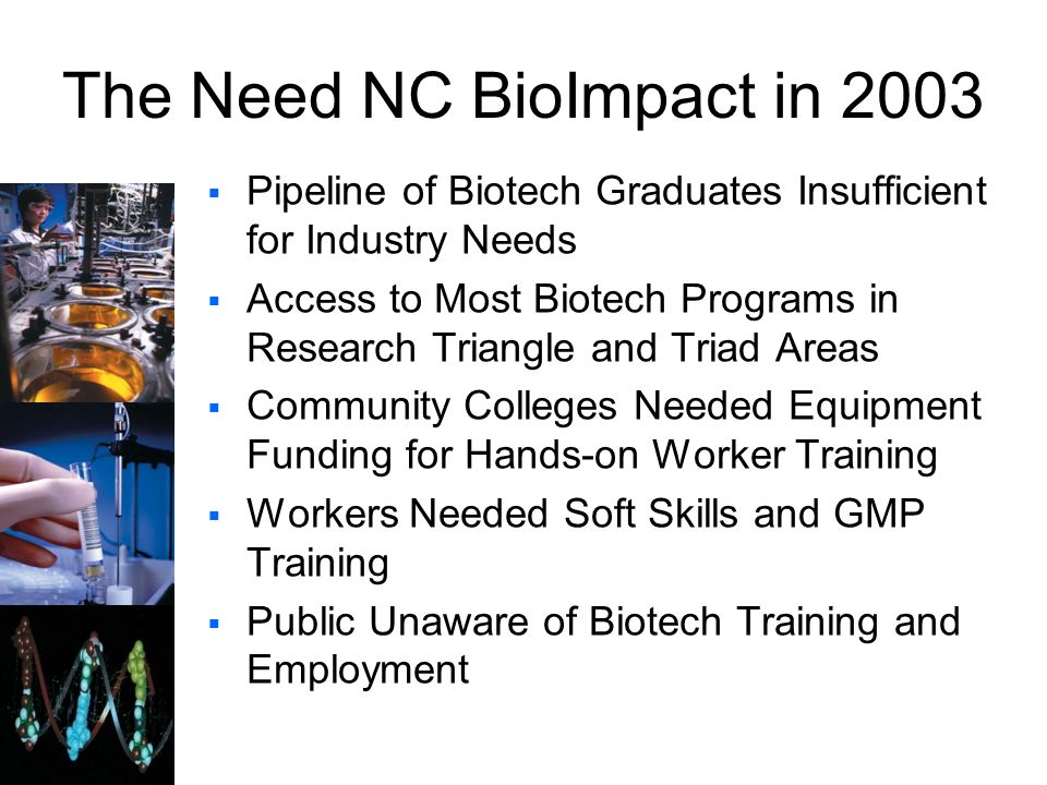 The Need NC BioImpact in 2003