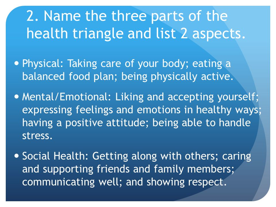 2. Name the three parts of the health triangle and list 2 aspects.