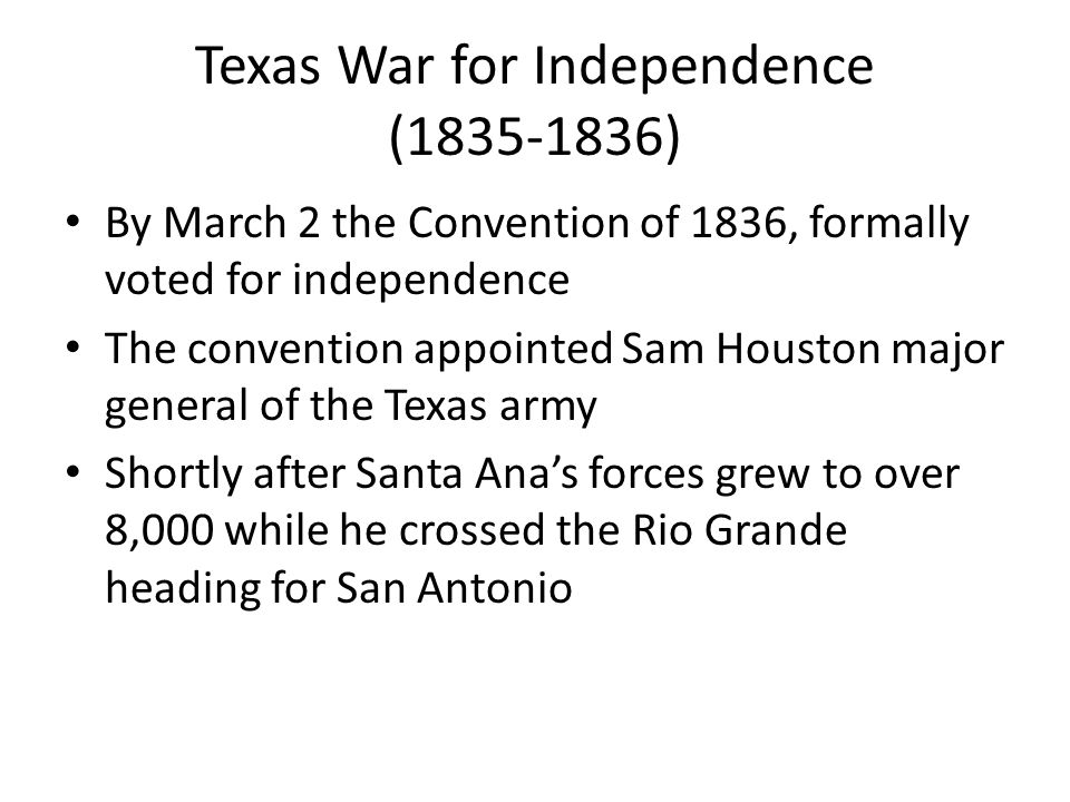 texas war for independence essay The texas declaration of independence was the formal declaration of  most of the delegates were members of the war party and were adamant that texas must declare.