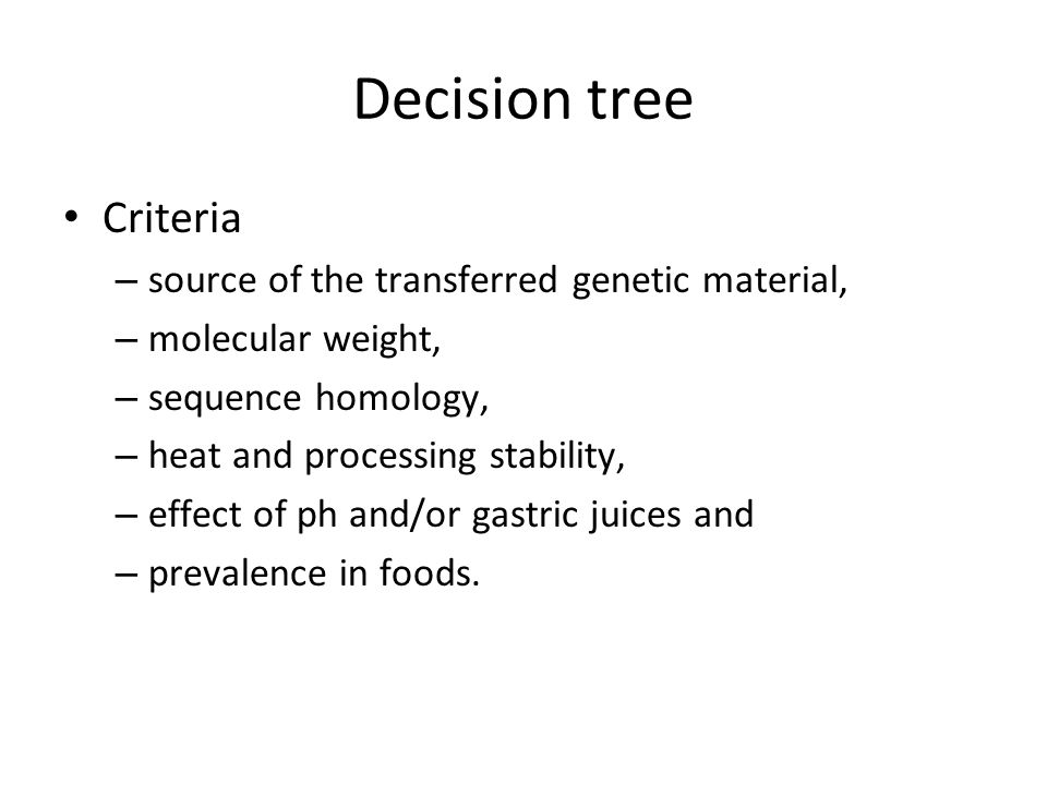 Decision tree Criteria source of the transferred genetic material,