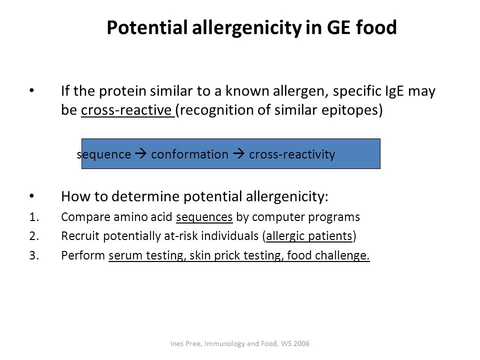 Potential allergenicity in GE food