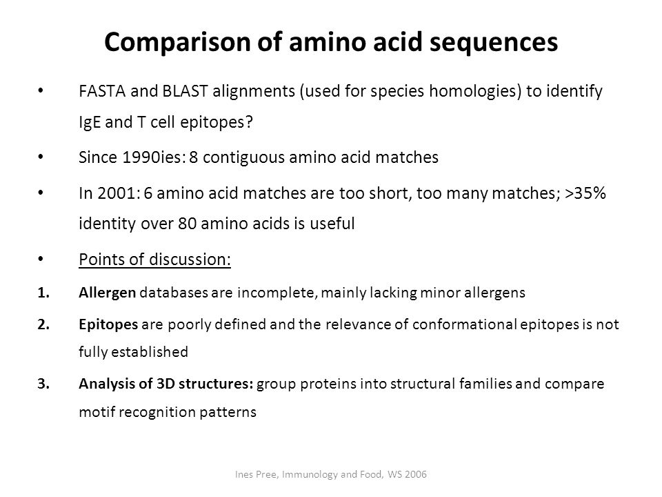 Comparison of amino acid sequences