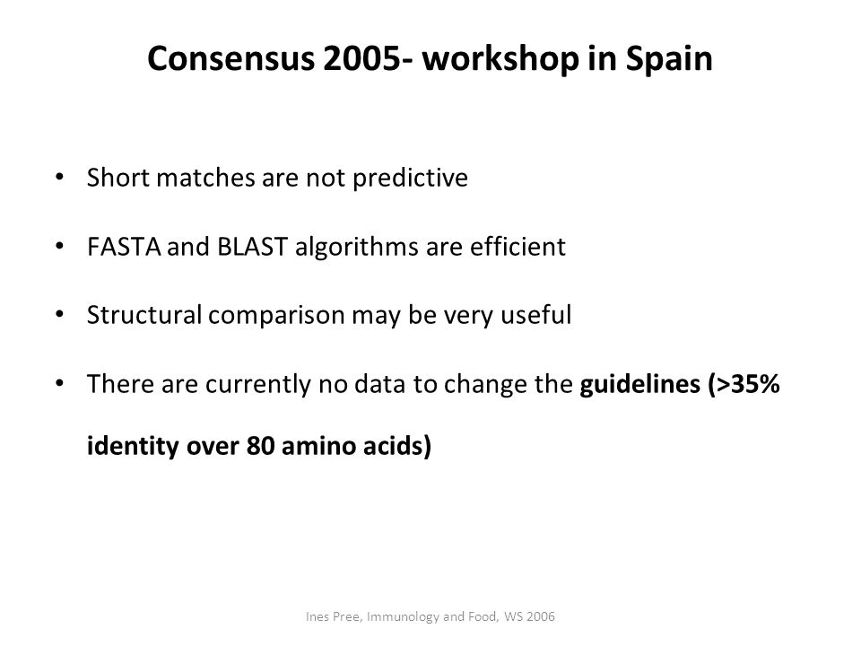 Consensus 2005- workshop in Spain
