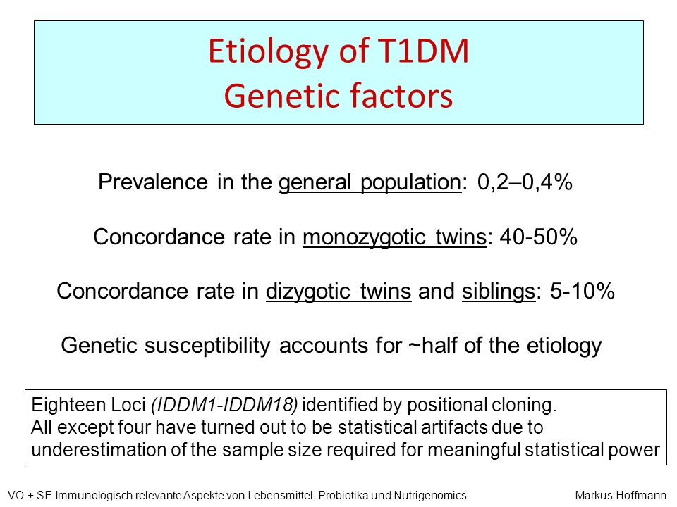 Etiology of T1DM Genetic factors