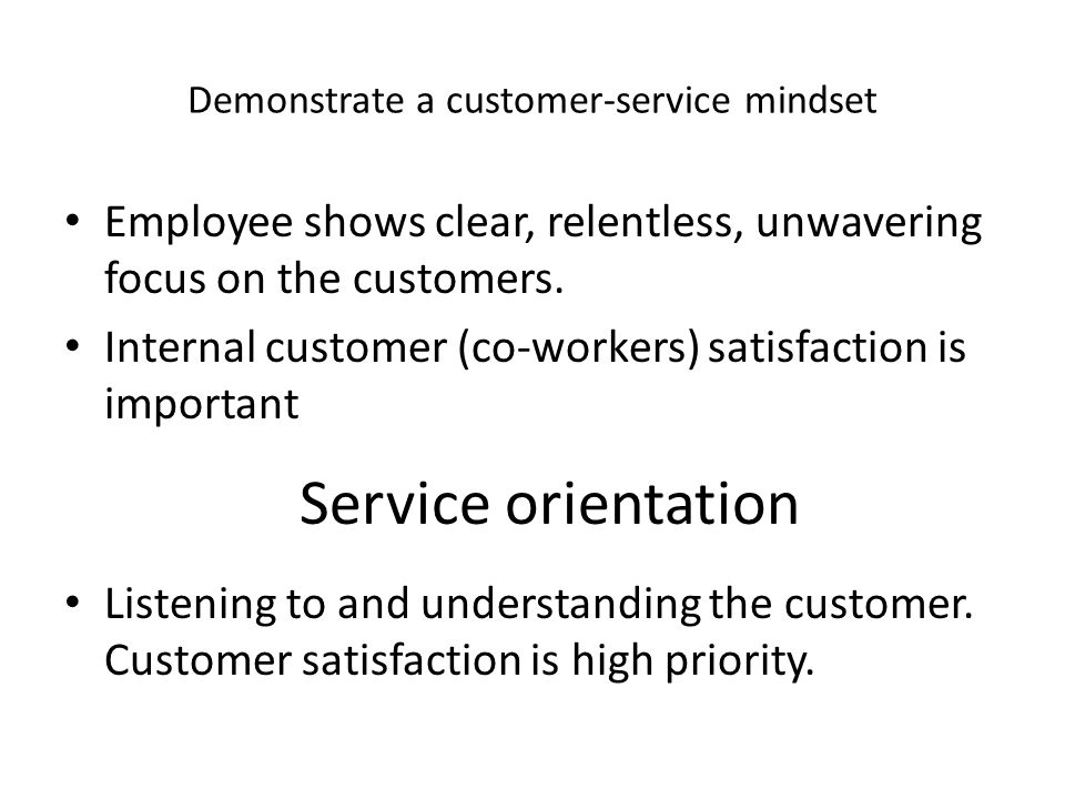 demonstrate understanding of customer service Let us take a look at what makes a customer service manager  team,  understanding their strengths and weaknesses and continuously striving  he/ she shall also have to demonstrate from time to time, the method of taking.