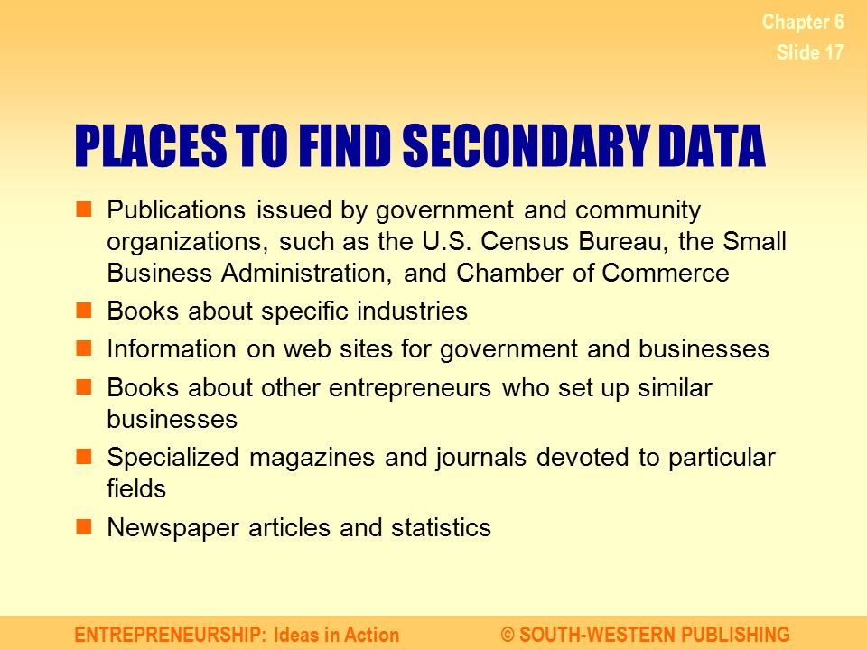 PLACES TO FIND SECONDARY DATA