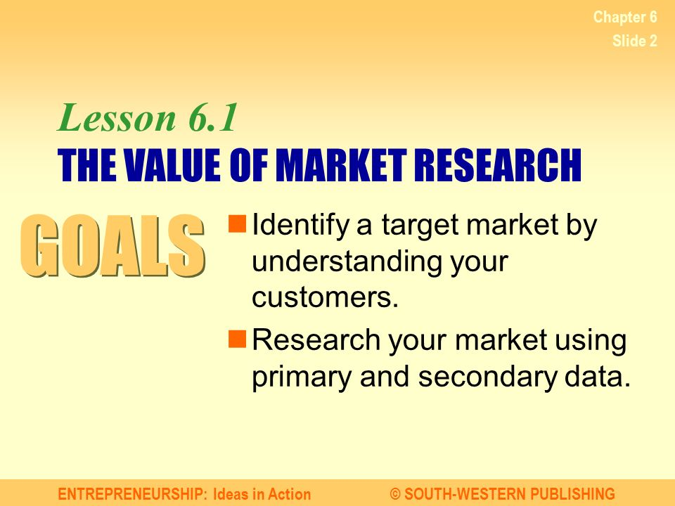Lesson 6.1 THE VALUE OF MARKET RESEARCH