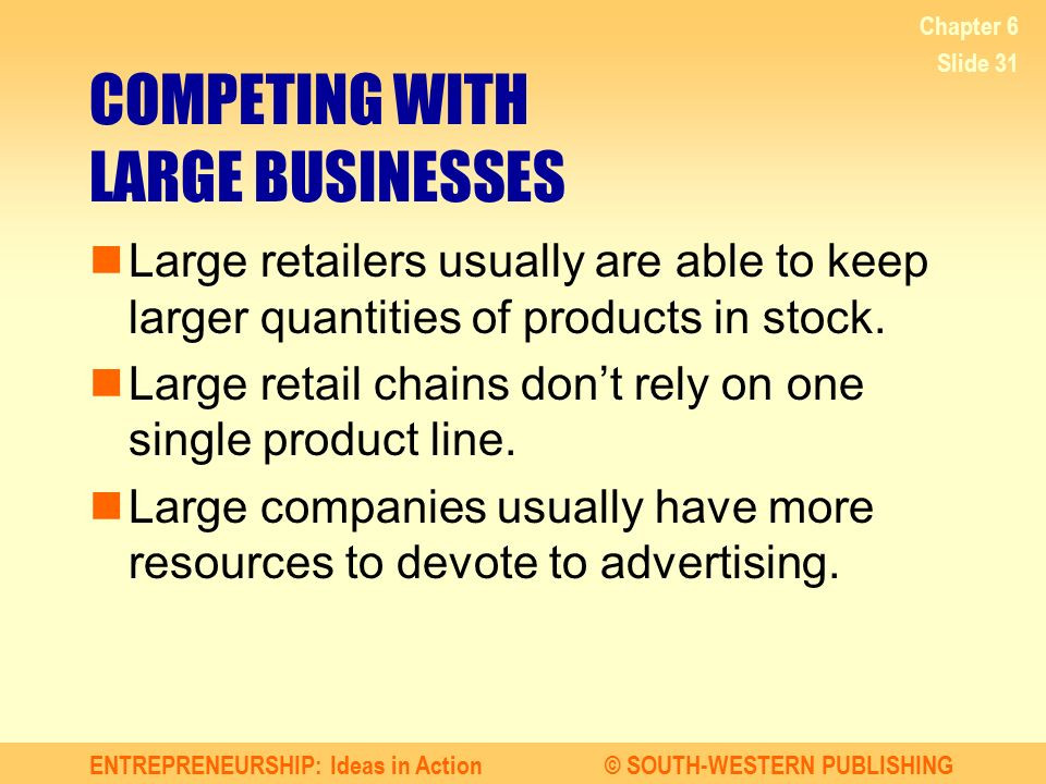 COMPETING WITH LARGE BUSINESSES