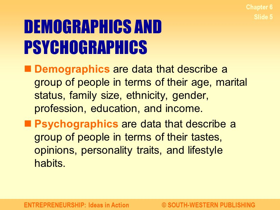 DEMOGRAPHICS AND PSYCHOGRAPHICS