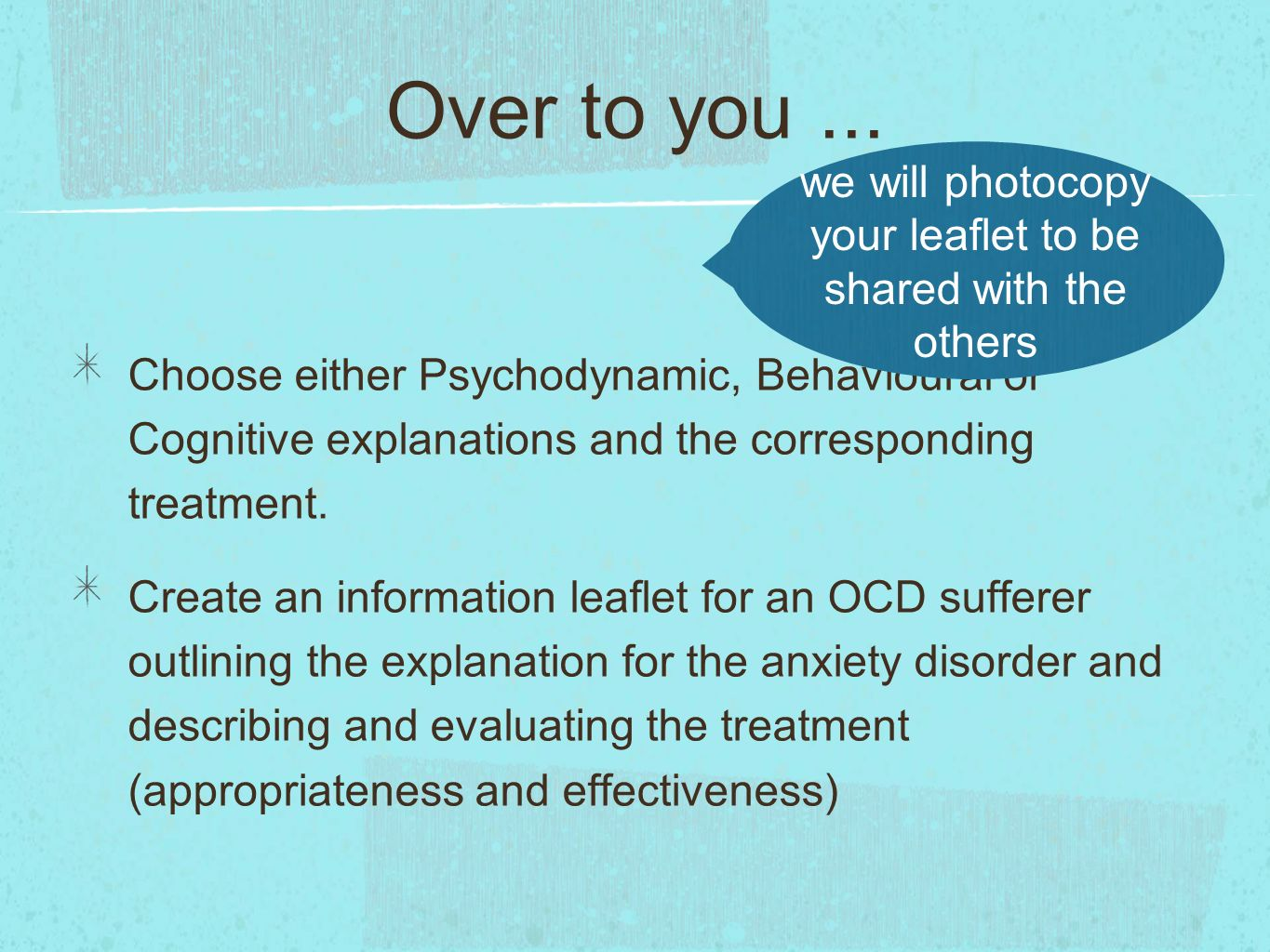 describe and evaluate behavioural treatments for Learn how cognitive behavioral therapy (cbt) is used to help people  because  of the way we interpret or evaluate our situations, thoughts, feelings  describing  the philosophy behind cbt is easiest with using an example.