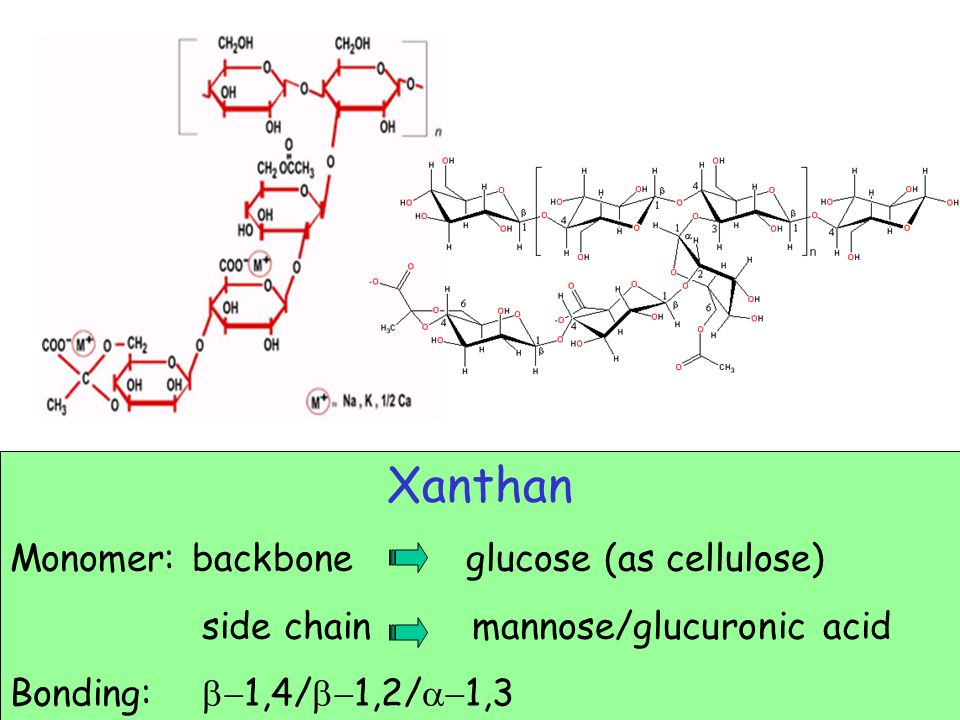 Xanthan Monomer: backbone glucose (as cellulose)