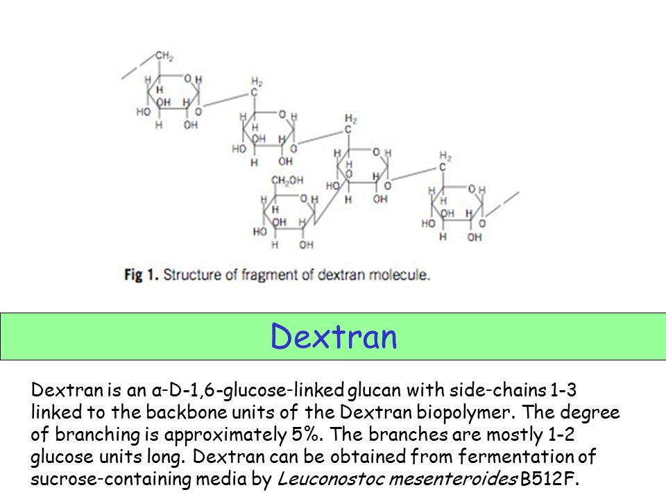 Dextran -only microbial gum permitted for use in food. -has cellulose backbone.