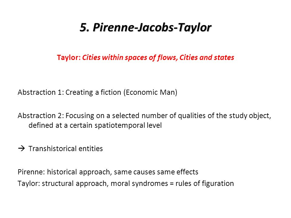 5. Pirenne-Jacobs-Taylor