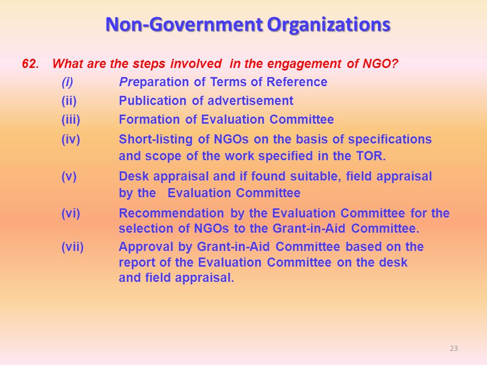 an evaluation of ngos working in The bank's approach to working with ngos is built around three objectives: literature on ngos and evaluation, a ngo progress report fy98.