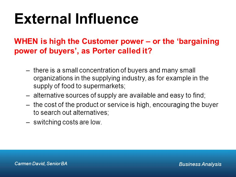 bargaining power of buyers in food industry Definition of bargaining power of customers: the buyers are concentrated or organized, (2) bargaining powe.
