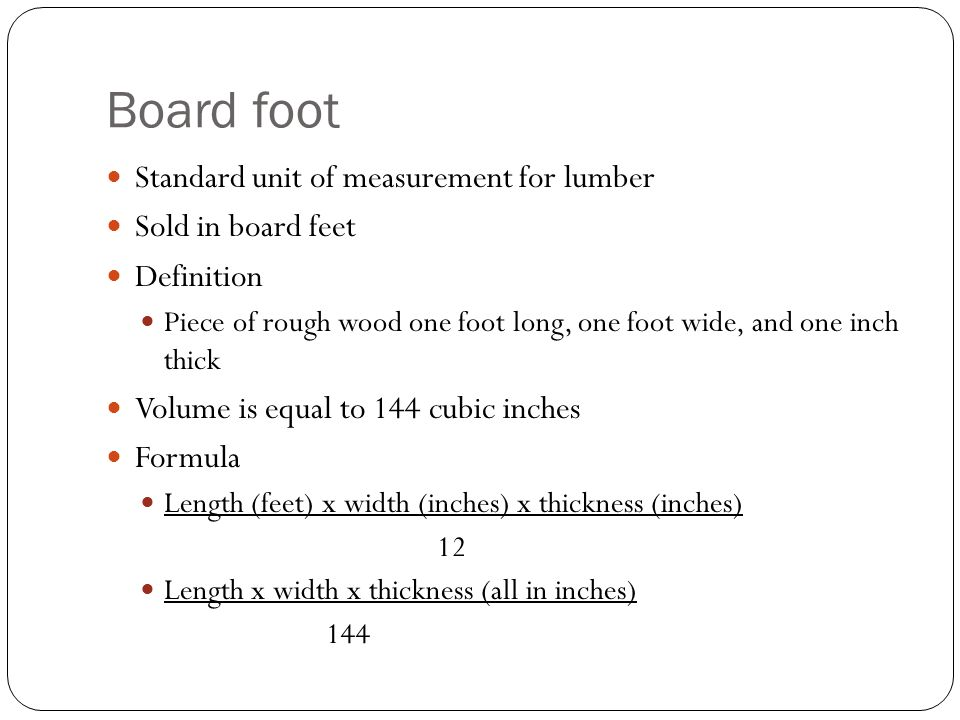 how to find board feet formula