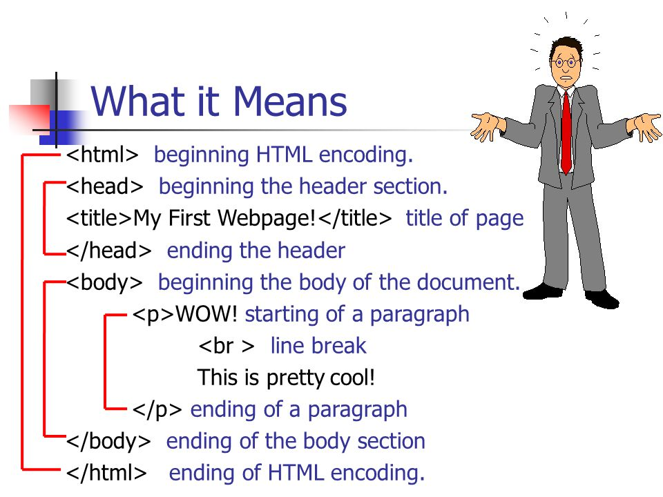 What it Means <html> beginning HTML encoding.