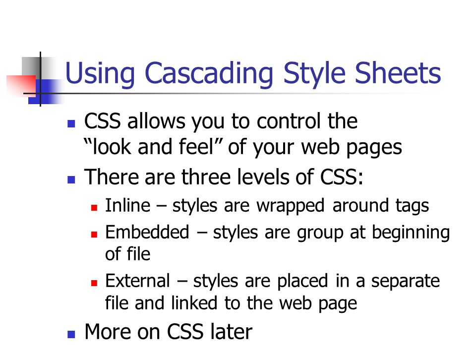 Using Cascading Style Sheets
