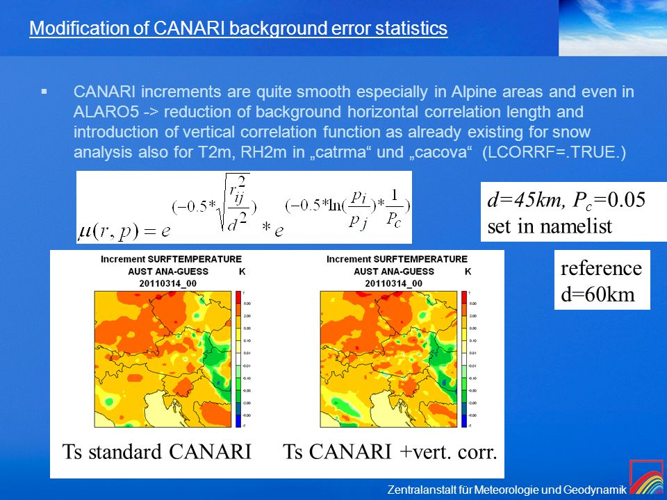 Modification of CANARI background error statistics