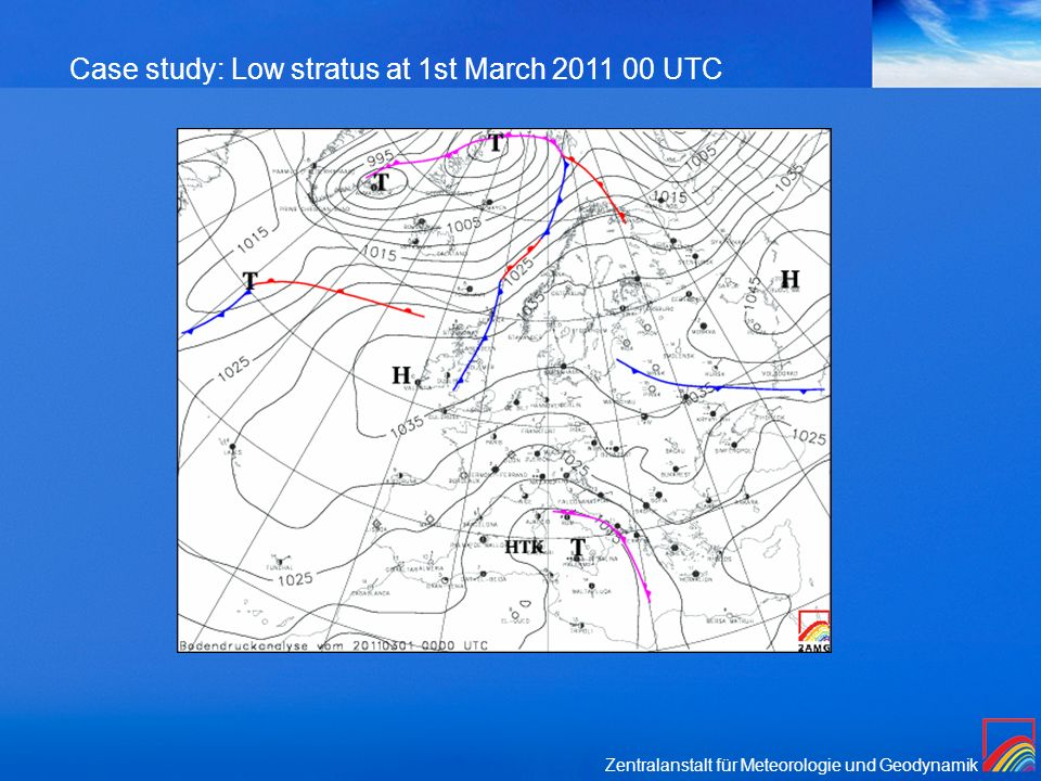 Case study: Low stratus at 1st March UTC