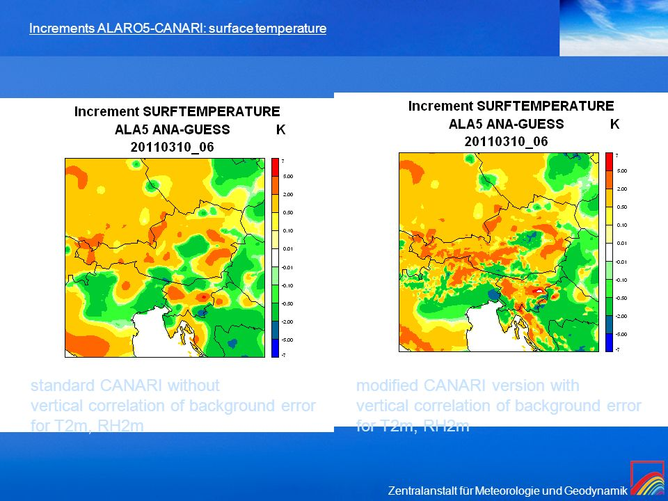 Increments ALARO5-CANARI: surface temperature