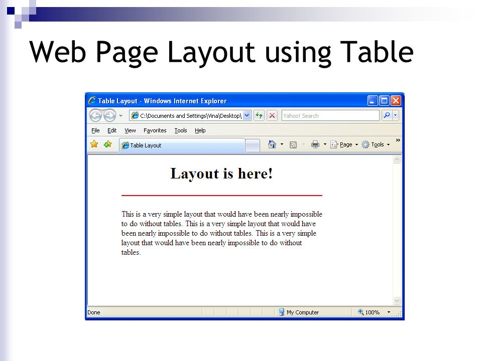 The mother tongue of the browser ppt download for Web page table design