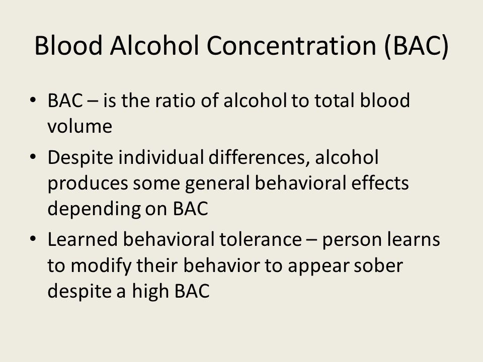 blood alcohol content Blood alcohol content is a terminology used to denote the concentration of alcohol in blood and provides a common, standard platform to measure and compare the levels of intoxication.