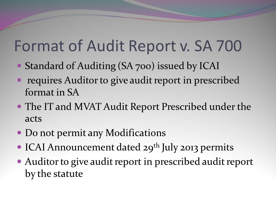 INTRICACIES IN MVAT AUDIT ppt download – Format for Audit Report